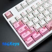 104 chaves pbt rosa sakura padrão keycaps substituição conjunto teclado acessório sakura padrão durável grande compatibilidade