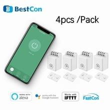 BroadLink BestCon 4 개 팩 MCB1 핸즈프리 Wifi 모듈 형 컨트롤 박스 스위치 홈 오토메이션 Alexa Google Assistant 음성 제어
