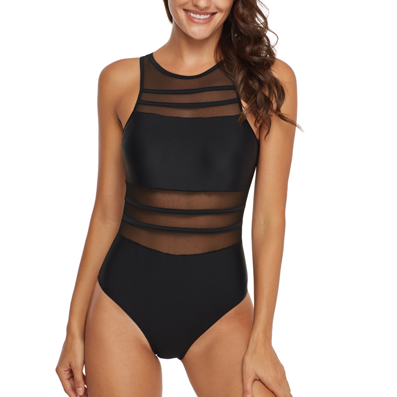 Riseado Women Swimsuit One Piece 2020 Push Up Swimwear Mesh High Neck Bathing Suit Summer Beach Wear Sexy Backless Swim Suits 5