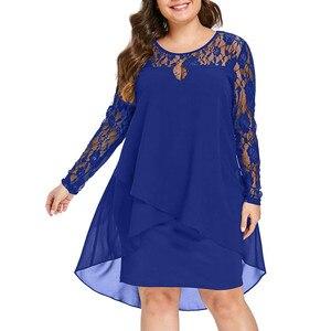 Модное женское платье, блестящее платье с кружевным рукавом, высоким низким подолом и круглым вырезом, повседневные платья больших размеров (xl- 5xl)# LR2