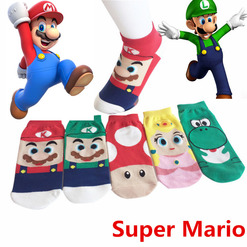 Classic Cotton Socks Kawaii Cartoon Super Mario Luigi Cosplay Props Sock Ankle Short Socks Small Mushrooms Stockings New