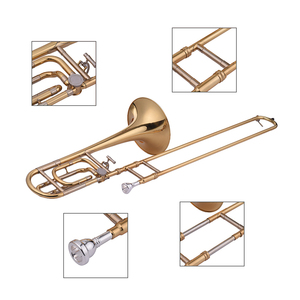 Image 5 - Muslady Intermediate Bb Flat Tenor Slide Trombone with F Attachment Including Mouthpiece Carry Case Gloves Cleaning Cloth