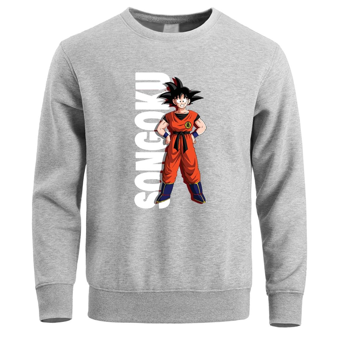 Dragon Ball Z Super Sai Yan Men Hoodies Sweatshirts Crewneck Hoodie Sweatshirt Pullover Winter Fleece Warm Anime Black Hoody