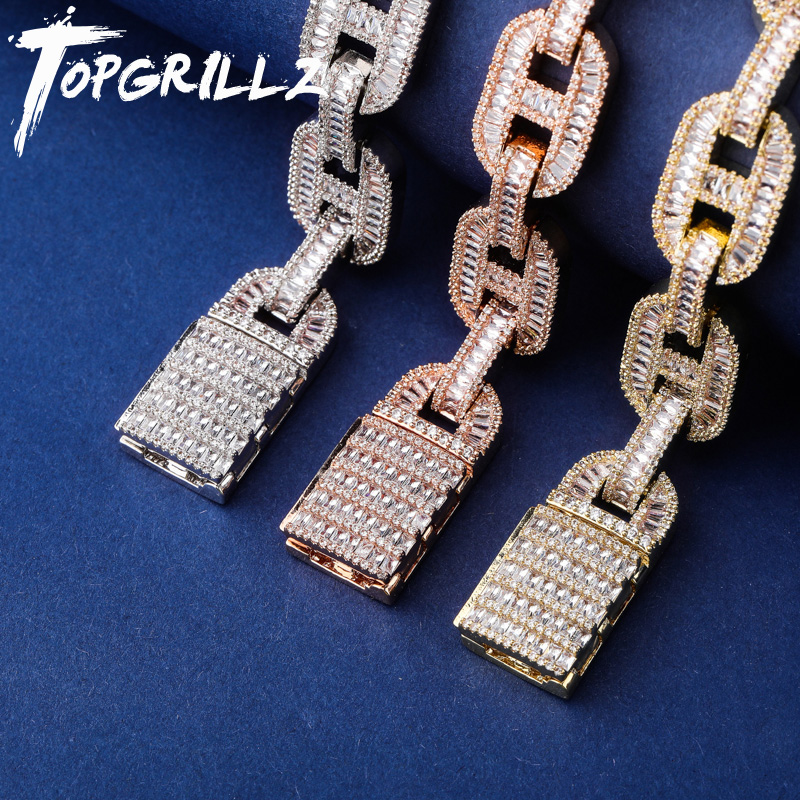 TOPGRILLZ Miami 14mm Big Box Clasp Cuban Link Bracelet Charm Gold Silver Iced Out Baguette Zircon Men's Hip hop Rock Jewelry