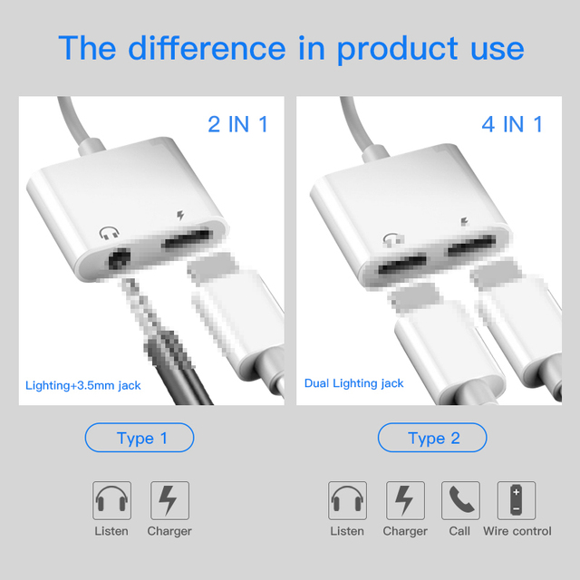 2 in 1 Adapter AUX Charging Lightning to 3.5mm Cable Splitter For Apple iPhone XS MAX XR X 7 8 Plus Aux Cable Splitte 2