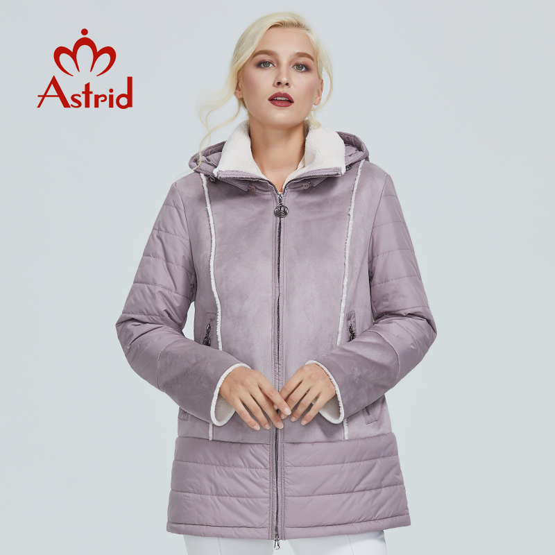 Astrid kurtka zimowa kobiety ciepłe płaszcze damskie odzież wierzchnia plus size stałe płaszcze z kapturem szczupła bawełna zima kurtka AM 2083 w Parki od Odzież damska na  Grupa 1