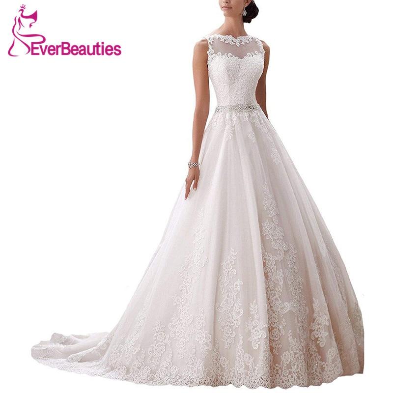 Vestidos de casamento Vestido De Noiva Modest A Linha Sheer Querida Appliqued Lace Frisada Belt Vestido de Noiva Sem Encosto 2017