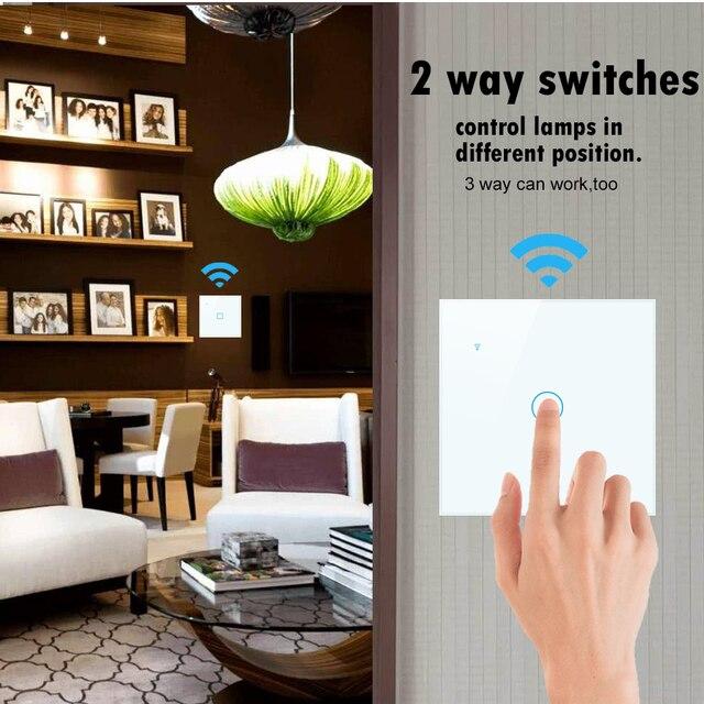 1 2 3 4 Gang 2 way WiFi touch przełącznik AC 85v 220v przełącznika światła na ścianie, Standard ue bezprzewodowy smart-domowy przełącznik