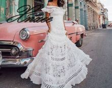 Xnxee 2019 summer new European and American womens one-shoulder ruffled openwork large lace dress