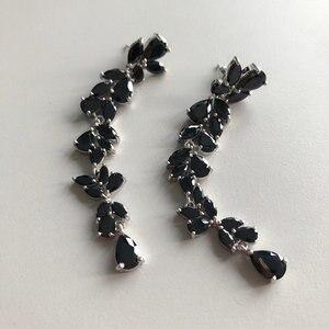 Image 3 - Bilincolor fashion trendy sveglio cubic zirconia ramo da sposa da sposa lungo nero orecchino di goccia per le donne