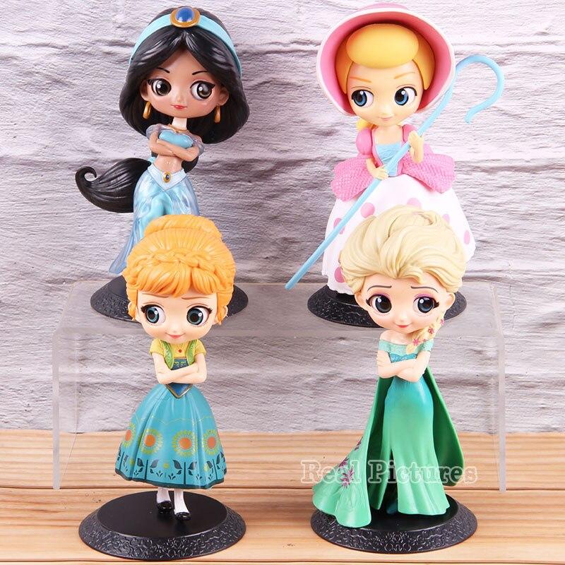 Q Posket Princess Elsa Anna Jasmine Bo Peep Doll PVC Action Figure Collectible Model Toy Gift for Children