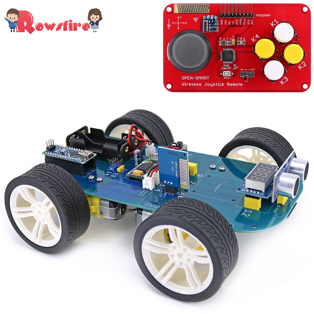 New 4wd 315/433mhz Wireless Joystick Remote Control Rubber Wheel Gear Motor Smart Car Kit For Arduino High-tech Programmable Toy