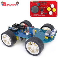 New 4wd 315/433mhz Wireless Joystick Remote Control Rubber Wheel Gear Motor Smart Car Kit For Arduino High tech Programmable Toy