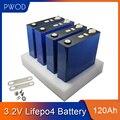 PWOD 32 шт. 3,2 В 120ah Lifepo4 аккумулятор 12 в 24 в 36 в 48 в 64 в глубокий цикл LFP литий-железо фосфат литиевая батарея ЕС США без налогов