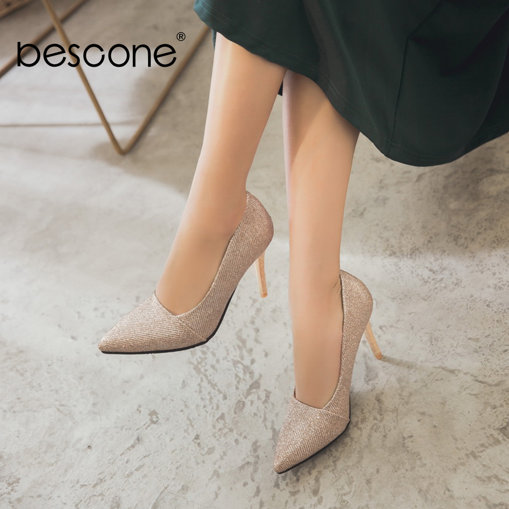 Image 5 - BESCONE Elegant Ladies Pumps Sexy Pointed Toe Office Shallow Thin Heel Shoes Handmade Slip On Super High Heel Women Pumps BM92Womens Pumps   -