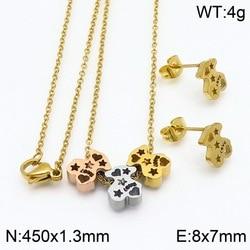 316L Stainless Steel Bear Jewelry Sets Love Heart Star Shape Necklaces Earrings Women Jewelry Gift