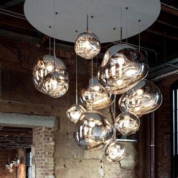 Lámpara nórdica de vidrio con diseño de pendiente, iluminación de café, cristal, lámpara colgante, accesorios de estudio, cocina, Villa, lámpara colgante de apartamento dúplex