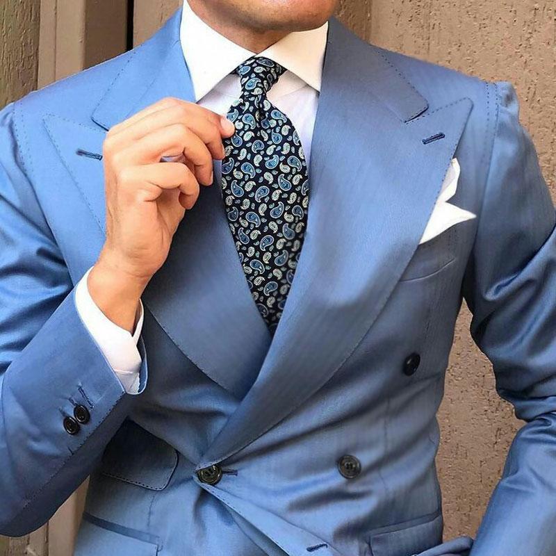 Custom Made Blue Suit Men 2019 Peaked Designs Men Attire For Wedding Groom Tuxedo Costume Homme Mariage Terno Masculino 2Piece