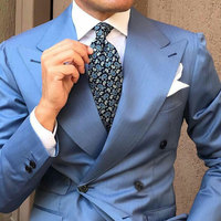 Custom Made Blue Suit Men 2019 Peaked Designs Men Attire for Wedding Groom Tuxedo Costume Homme Mariage Terno Masculino 2Piece