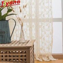Тюль с вышитыми бежевыми цветами занавески для гостиной простота