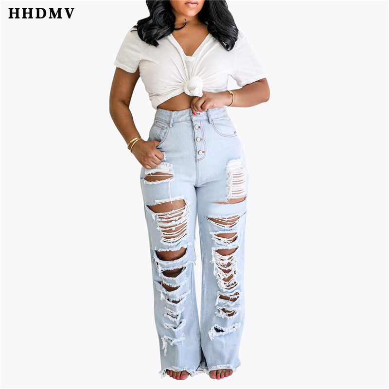 HHDMV HSF2037 personality reduction of age hip hop style long denim pants high waist buttons broken hole denim straight pants