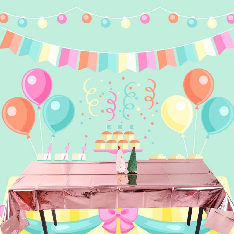 Waterproof Foil Party Rose Gold Table Cloth Table Cover Rectangular Birthday Tablecloth Wedding Birthday Halloween Table Cloth