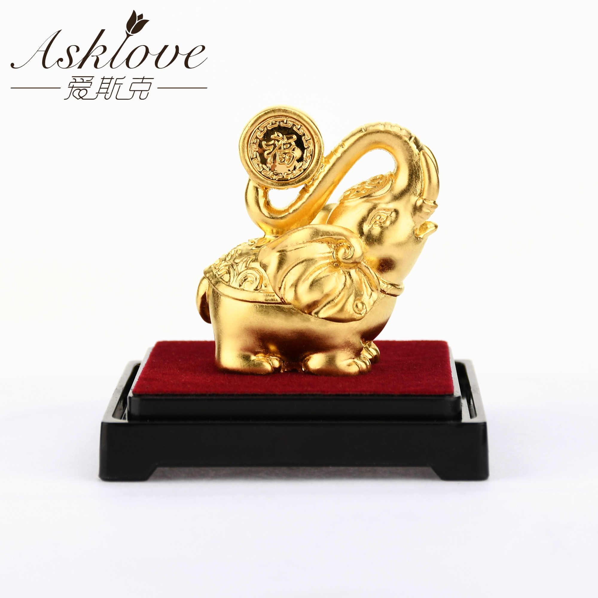Fortunato Elefante Feng Shui decor 24K Lamina D'oro Elephant Statue Figurine Ufficio Ornamento Artigianato Raccogliere Ricchezza Home Office Decor