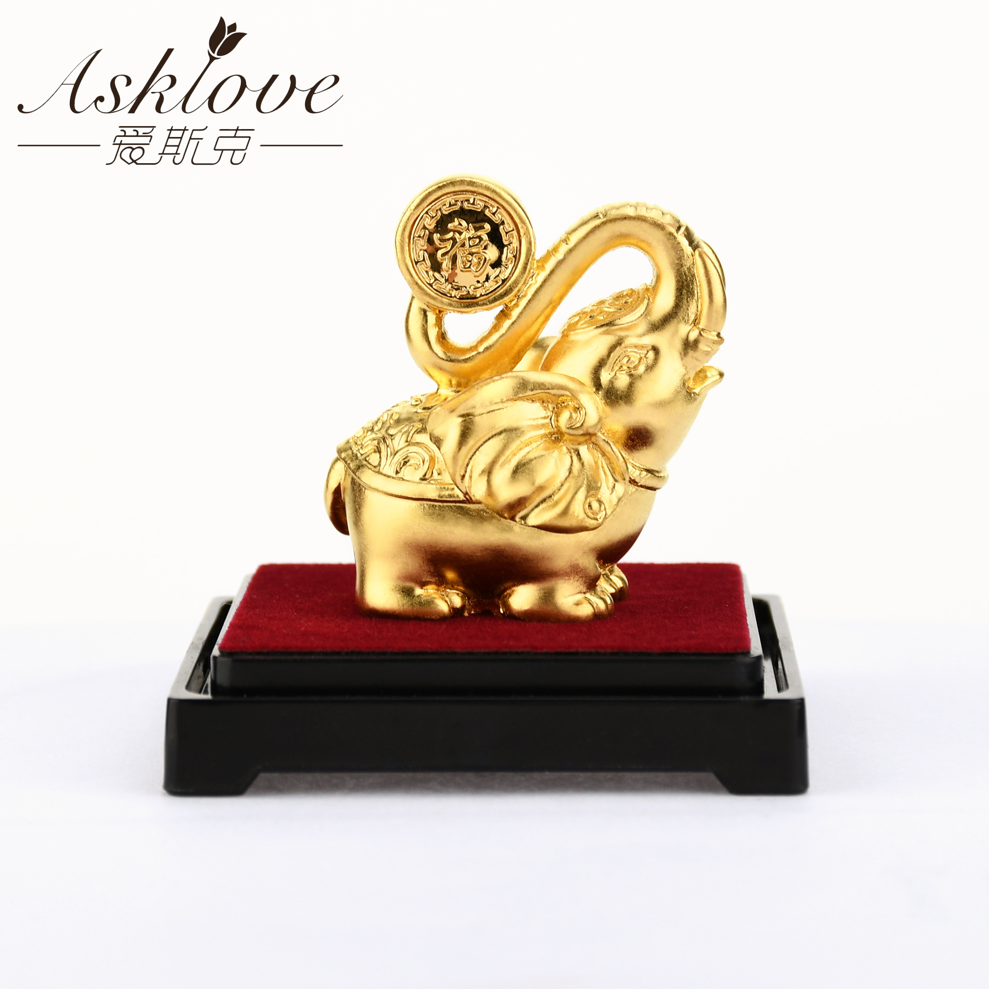 Image 5 - Lucky Elephant Feng Shui decor 24K Gold Foil Elephant Statue Figurine Office Ornament Crafts Collect Wealth Home Office DecorFigurines & Miniatures   -
