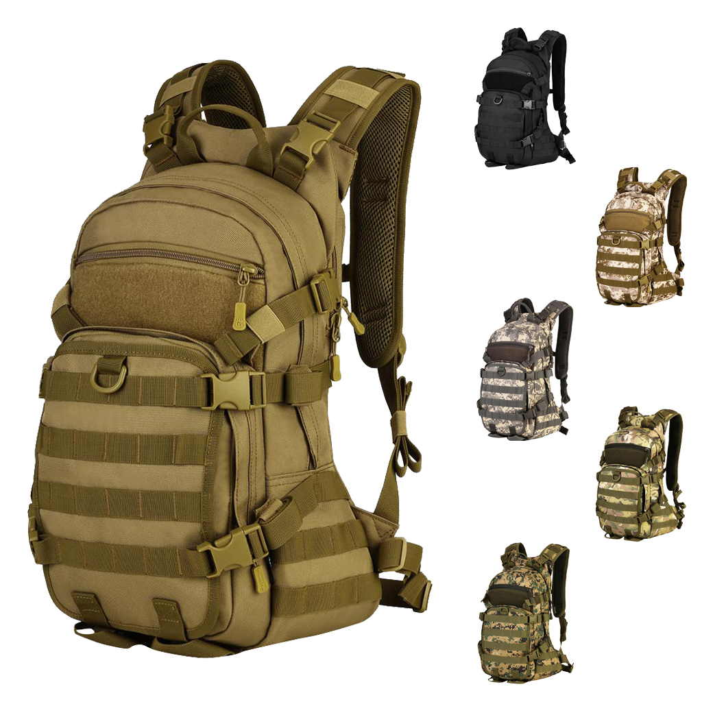 25L MOLLE Backpack Rucksack Hydration Pack Sport Travel Bag With Helmet Carrier For Outdoor Cycling Camping Hiking Trekking
