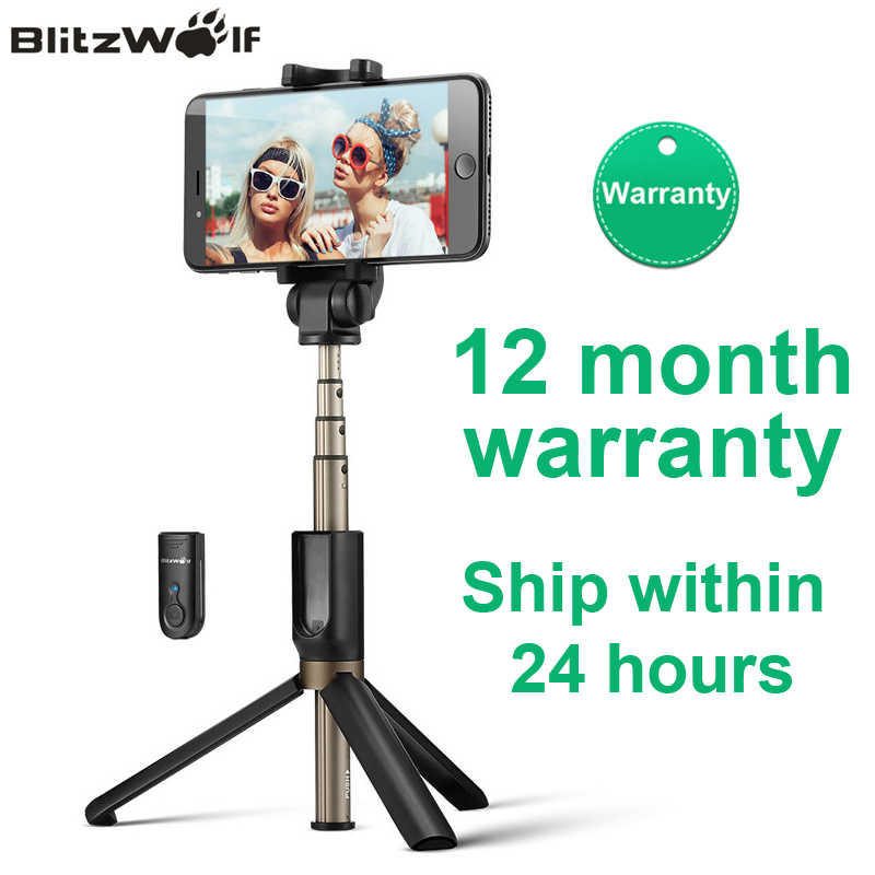 BlitzWolf BS3 Universal Wireless Bluetooth Selfie Stick Mini Tripod للتمديد Monopod Live Stream Travel لفون 11 Pro X XR 8 لسامسونج Xiaomi 9 Huawei P30 Pro Smart Phone 12 شهر الضمان
