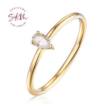 SKM Simple Engagement Ring Pear Engagement Ring Thin Dainty Pear Cut diamond ring 14K Gold ring Classic customized ring moissanite ring 14k rose gold 1 5ct 9x6mm pear cut moissanit engagement ring set bridal ring set for women