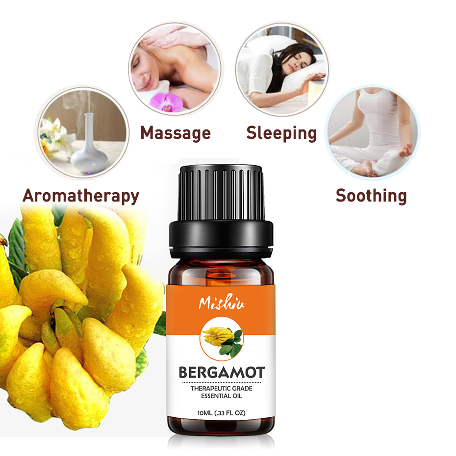 Mishiu Bergamot Essential Treatment of Sunburn,Treatment of Psoriasis,Acne Aromatherapy Relax Fragrance Aroma Oil Diffuser 10ML image
