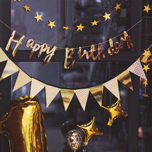 Banner Decoration Happy-Birthday-Party-Decoration Flag Background Wall Pink Gold