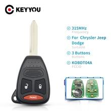 KEYYOU 315Mhz Remote Key KOBDT04A Fob 2+1 3 Button For Dodge Caliber Dakota Durango Magnum Nitro Ram 1500 2500 3500 Uncut Case