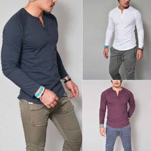 Fashion Men Cotton Slim Fitness V-Neck Buttons Blouse Shirts Top Long Sleeve Muscle Tees Shirt Casual Tops Blouses Clothes S-3XL