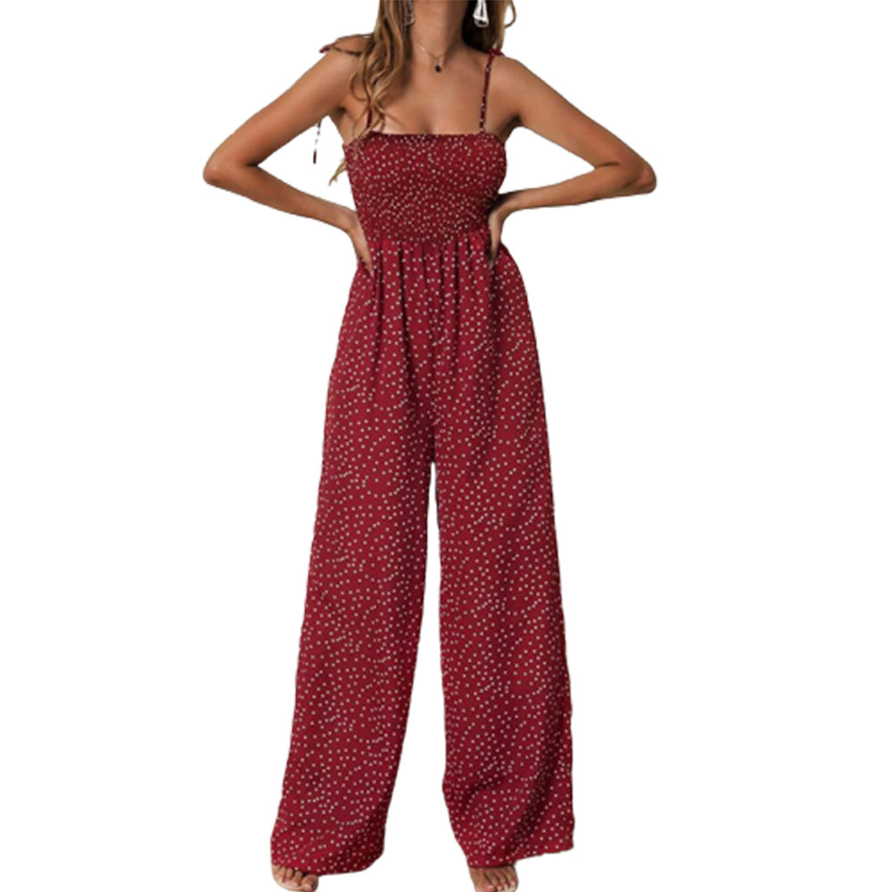 Summer Jumpsuit Women Polka Dot High Waist Rompers Boho Yellow Spaghetti Strap Top Wide Leg Pants Female Clothes Ladies 2020