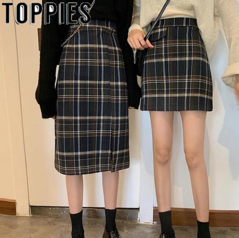 Vintage Lattice Mini Skirts Women Split Woolen Skirt High Waist Korean Fashion Streetwear