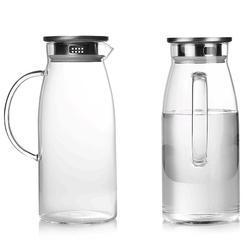 Jarra de vidro transparente 1300/1500/2000ml, jarra de vidro quente/fria, chaleira para suco, recipiente para água quente para