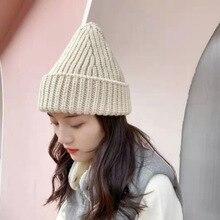 Hat Woman Wool-Hat Knitting Winter Korean-Fashion Solid-Color Sweet Versatile-Net Warm