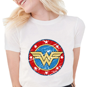 New Summer Women's Fashion Wonder Woman Printed T-shirts Cool Soft Cotton Short Sleeve White Tops S1260