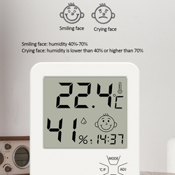 Digital Temperature Humidity Clock Big LCD Electronic Thermometer Hydrometer Meter With Stand Hygrometer Humidity Gauge Digital