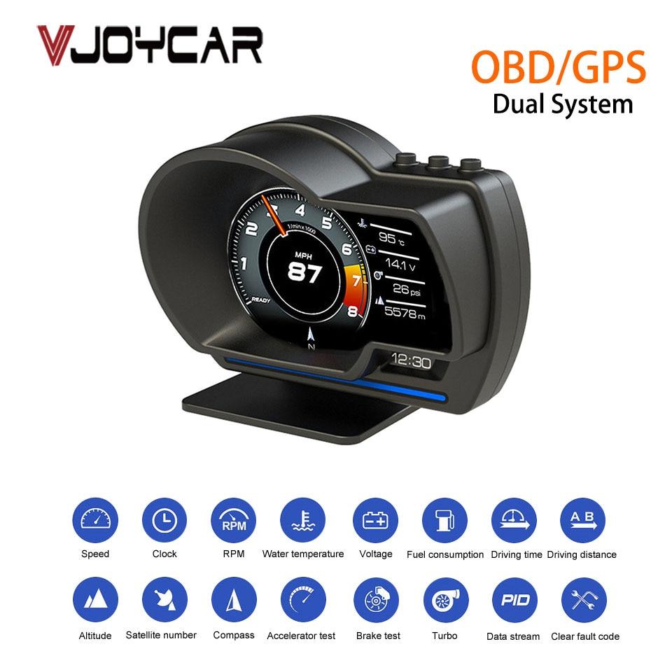 Vjoycar V60 chine plus récent double système tête haute affichage OBD2 HUD GPS compteur de vitesse numérique tachymètre huile/liquide de refroidissement Temp. Turbo Boost