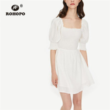 ROHOPO Puff Sleeve Smocking Top Pleated Cute Preppy Girl White Dress High Waist Big Flared Solid Ladies Chic Vestido #8088