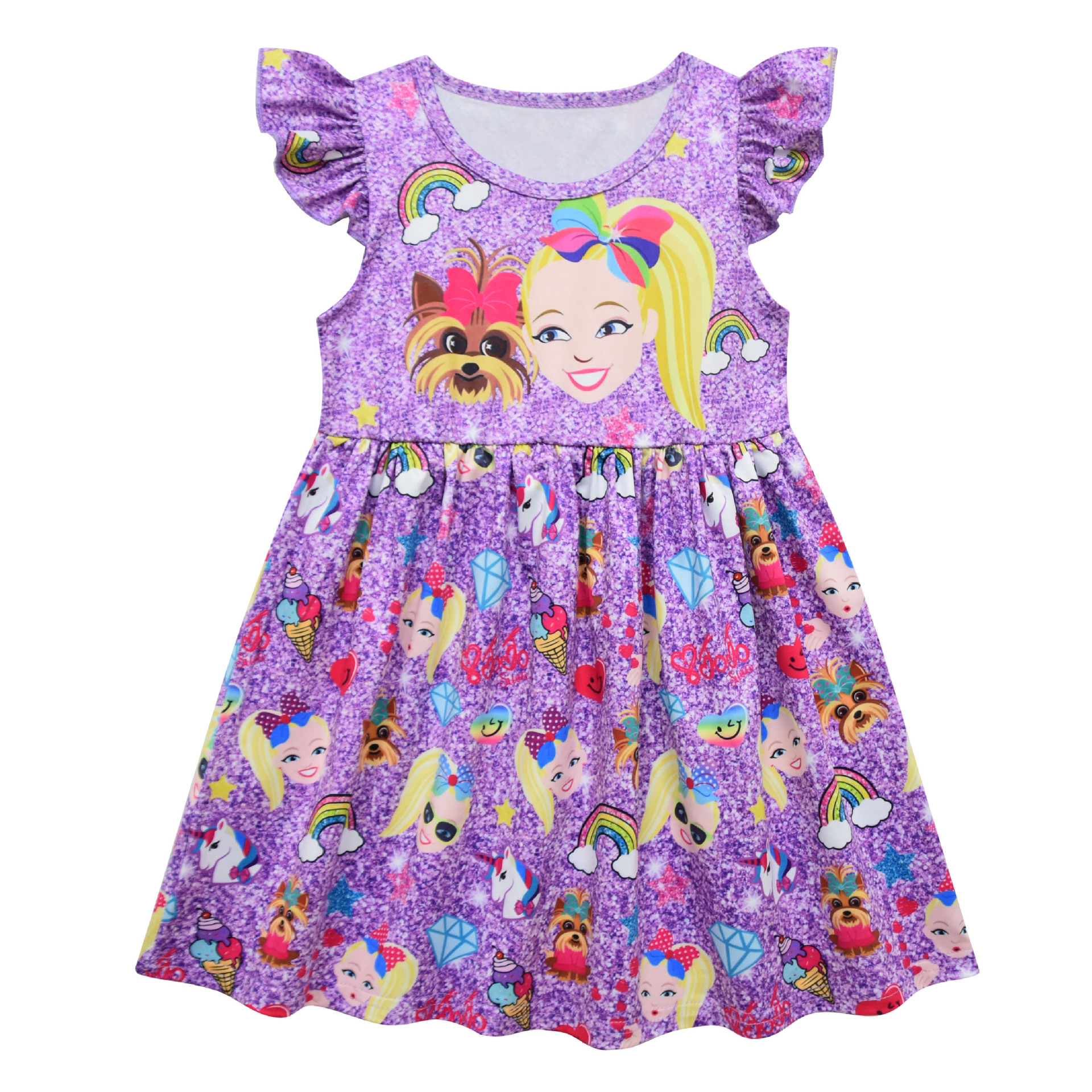 New Design Boutique Remake Dress Fashion Flutter Sleeve Girl Summer Purple Print Children Clothing