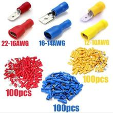 300 pces isolados spade friso terminais conectores de fio fêmea & masculino butt friso conector variedade conjunto 22-10 awg