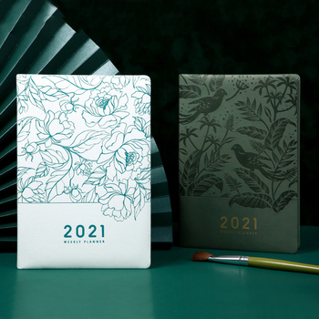 Agenda Planner 2021 Organzier A5 Diary Notebook and Journal Line Plan Notepad Weekly Daily Stationery Business School Note Book business leather notebook filofax planner agenda diary with lock papelaria notepad bullet journal note book school stationery
