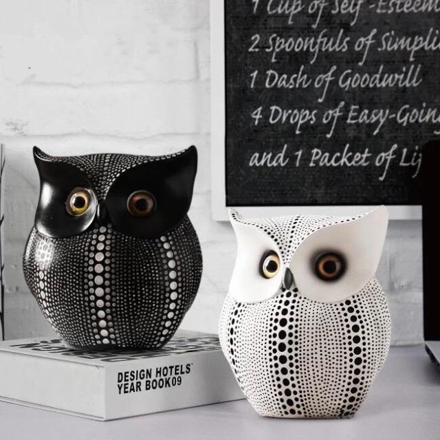 Chaud! Populaire minimaliste noir et blanc hibou décorations pour la maison résine hibou accessoires salon ornements artisanat, meilleur cadeau