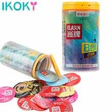 24 pcs 8 가지 유형 울트라 씬 콘돔 남성용 천연 라텍스 고무 콘돔을위한 얼음과 불 점이있는 즐거움
