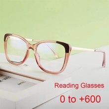 Marque de luxe carré lunettes de lecture dame lunettes cadre presbytie loupe rétro femmes bleu Anti lumière lunettes