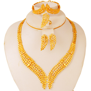 Dubai Jewelry set for women African bridal party earrings ring set African 24k gold wedding gifts Ethiopian collares jewellery